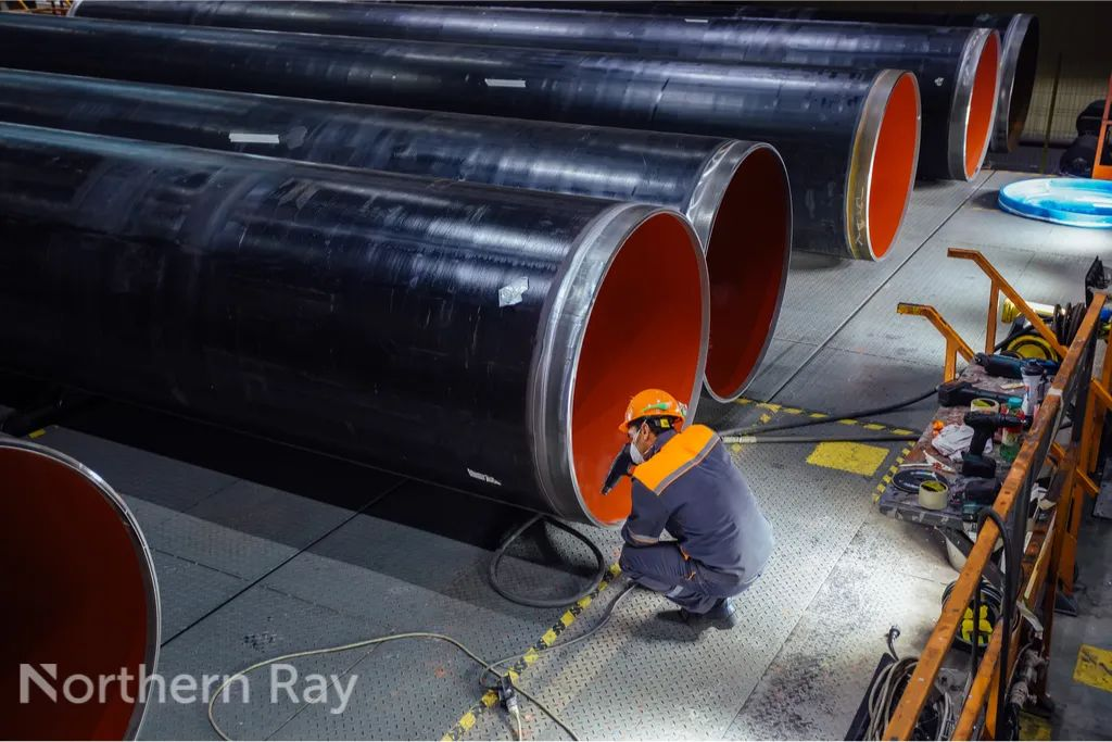 new coated pipe in factory- northern-ray